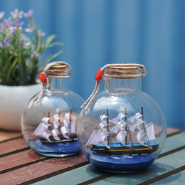 Wholesale Pirate Sailing Ships - Sailing Boat in Drift Bottle Mediterranean Glass Pirate Ship Wishing Bottle Nautical Home Decor Gifts Crafts