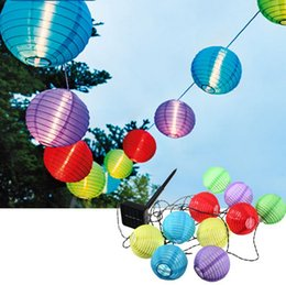 Wholesale Led Lights For Christmas Lanterns - 10 LED Solar Powered Lamp Solar Chinese Lanterns Garden String Lights Lamp for Christmas Wedding Party Holiday Decoration White Colorful