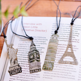 Wholesale Bookmark Tower - Eiffel Tower Metal Bookmark Statue Of Liberty Big Ben Leaning Tower of Pisa Hollow-out Bookmark Wedding Favor Gifts DHL Free Shipping