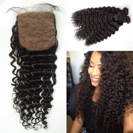 Wholesale Silk Base Brazilian Wave - Brazilian Curly Hair With Closure Unprocessed Virgin Human Hair Deep Wave Silk Base Closure With Bundles 4pcs Lot G-EASY
