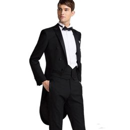 Wholesale Cheap Best Winter Suits - New Desgin Tailcoat Groom Tuxedos Black Mens Suits Double Breasted Trim Fit Best Man Magician Performance Formal Wears Cheap(Jacket+Pants)