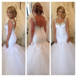 Wholesale Brush Custom - New Arrival Robe De Mariage Lace Appliques Mermaid Bridal Gown Long Cheap Brush Train Tulle Wedding Dress 2016
