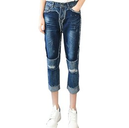 Wholesale Harem Jeans For Girls - Retro Beggars Patchwork Ripped Stitching Harlan Hole Blue Jean Pants Capri Pants Fashion Jeans for Women Girls
