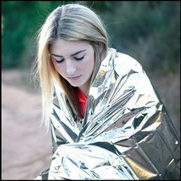 Wholesale Emergency Insulation Blanket - 210*130cm Outdoor Sport Climbers Life-saving Military Emergency Blanket Survival Rescue Insulation Curtain Blanket Silver Wholesale 2501040