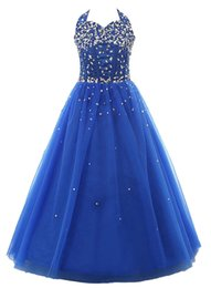 Wholesale Halter Ball Gowns For Children - Hot Sale In Stock Size Cheap Halter Beads Skirts For Children Sweet Little Kids Pageant Dresses Beads Belt Backless Ball Gowns