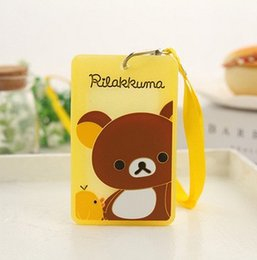 Wholesale Card Rilakkuma - SIZE 10*6CM PVC Rilakkuma Bear Lady Girl Kid's BUS ID Card Holder Case Pouch ; With Neck String