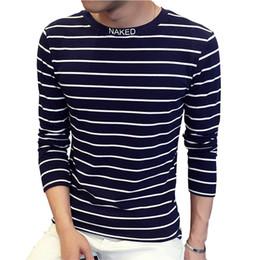 Wholesale Trend T Shirt Designs - Wholesale- New Design Special High Collar Men's T Shirt Fashion Trend Long Sleeve Casual Striped T Shirts Men Letter Print Tshirt 4XL 5XL