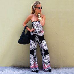 Wholesale Casual Strapless Black Jumpsuit - Wholesale- Casual Ladies Jumpsuits for Women 2017 Summer African Print Strapless Jumpsuit Off Shoulder Beach Black Wide Leg Jumpsuit Loose