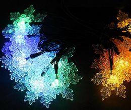 Wholesale Led Snowflake Lights Solar - 2pcs Solar Power LED Snowflake Lamp Light multicolour String Strap For Garland Wedding Christmas Venue Decoration