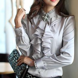 Freeship blanco / negro / rosa / gris mujeres señoras colmena lolita florales floral camisa de cuello alto medieval Blusas Camisas flare desde fabricantes