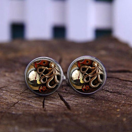 Wholesale T Cuff Links - fashion handmade Cufflink Animals Octopus Clock Watch Steampunk Wholesale Art Picture High Quality T-shirt buttons Cufflink jewelry