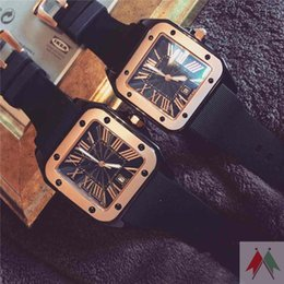 Wholesale Quartz Silicone Watches - Fahion Square Casual Women Big Water Resistant Calendar Watch High Quality Vintage Watch Roman Numeral Wristwatches