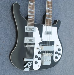 Wholesale Electric Guitar Double Neck Black - free shipping Personal Tailor black Double Neck Electric guitar 12&4 bass strings Rosewood Fingerboard Can send pictures customization