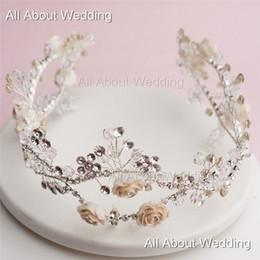 Wholesale Vintage Handmade Bridal Pearl Hair - 2016 New Flexible Handmade Flower Crystal Bridal Hairband Two Row Vintage Vine Wedding Hair Accessory Evening