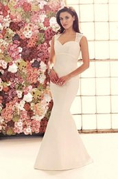Wholesale Wedding Mermaid Dress Mikaella - Spaghetti Straps Trumpet Mermaid Satin Sweetheart Neckline Florals Applique 2015 Mikaella 1906 Bridal Dresses Wedding Gowns F06