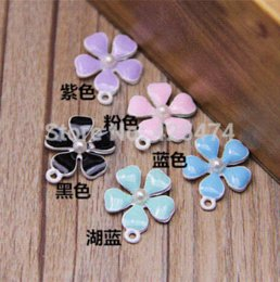 Wholesale Pastel Color Necklace - Free Shipping Mixed 50PCS Lot Mint Pastel Color Oil Drop Jewelry Flower Charms DIY Jewelry Bracelet Necklace Phone Chain Charm