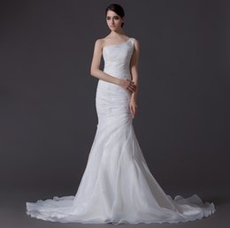 Wholesale Cheap Women Winter Wear - 2016 Elegant One Shoulder Mermaid Wedding Dresses Cheap Organza Sexy Weddiing Gowns Floor Length Women Formal Wear Wedding Dress