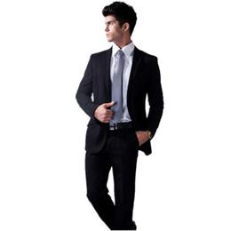 Wholesale Groom Suits For Sale - Wholesale-Superior quality! 2016 Hot Sales Notch Lapel Two Buttons Black Best men Suits for Wedding Grooms Suits tuxedos(Jacket+Pant