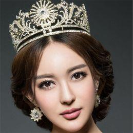 Wholesale Tall Stars - Vintage Wedding Bridal Gold Silver Tall Crown Tiara Headband Jewelry Set Earrings Crystal Rhinestone Queen Hair Accessories Jewelry