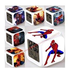 Wholesale Spider Man Digital Alarm Clock - Cool Spider Boy Gift LED Glowing Alarm Clock Despertador Digital infantile Reloj Reveil Cartoon Character Toys Men Children Gift