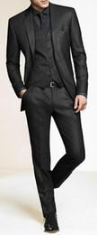 Wholesale Charcoal Grey Suits For Men - Men Slim Fit Suits Custom Made Charcoal Grey Groom Suit, Bespoke Tailor Wedding Suits For Men, Mens Wedding Tuxedos Suits