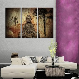 Wholesale Statue Home Decor - 3 Picture Canvas Paintings Wall Art Stone Statue Buddha Picture Printed On Canvas with Wooden Framed For Temple Home Wall Decor