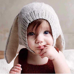 Wholesale Cute Babies Photo Pink - Cute Baby Hats Rabbit Ears Knitted Kids Caps 2016 New Autumn Winter Baby Girls Hats Lovely Infant Toddlers Beanies for Baby Photo Props