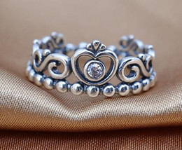 Wholesale Princess Pandora Charm - 2016 NEW 100% Authentic 925 sterling silver rings with clear CZ My princess DIY charms European style fits for pandora jewelry wholesale
