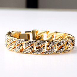 Wholesale Men Heavy Gold Chain - Exaggerated Heavy Extra Coarse 24K Solid Gold MIAMI CUBAN LINK Shiny Full Diamante Bracelet Hip Hop Bling Jewelry Hipster Men Gold Wristband