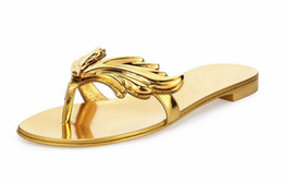 Wholesale Hot Gold Heels - 2017 Hot Summer Women Slippers Casual Shoes Woman Flats Leaf Sandals Slip On Beach Shoes Flip Flops Gold Red Nude Silver