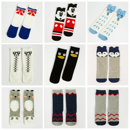 Wholesale Cute Socks For Kids - 36 Patterns Kids Knee High Socks Cute Animal Prints Fashion Stockings Basketball Seamless Socks for Boys and Girls 0-6 Years