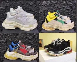 Wholesale Women S Genuine Leather Boots - Brand 2017 New Speed Triple S Sneaker BL Arena Women Men Running Shoes Kanye West Old Grandpa shoes Black Red Retro Sports Boots