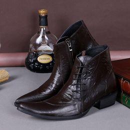 Wholesale Spiked Punk Boots - Wholesale- Plus Size 38-46 Leather Formal Dress Boots Mens Chukkas Shoes Metal Tip Spikes Fashion Men Martin Punk Rock Boot Man Heels Shoe
