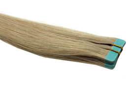 Pelo virgen indio grabado online-100% indio pelo humano virginal onda recta 20 '' 22 '' cinta de trama del pelo pelo 24pcs partes del pelo 10 lotes