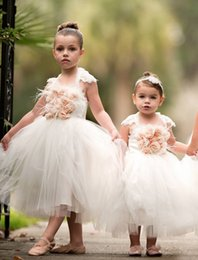 Wholesale Halter Wedding Dress Feathers - Dollcake Feather Flower Girl Dresses Special Occasion For Weddings Halter Lace Kids Pageant Gowns Ankle Length Tulle Party Communion Dress