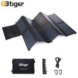 Wholesale free solar charger - Original GBtiger 65W Dual Outputs Portable Solar Charger Smart Charging Technology Super Compact Two Free Hooks HOT +TB