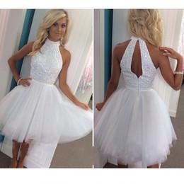 597dcf938 Vestidos de cóctel cortos atractivos 2016 Una línea con cuentas Mini  Vestidos de regreso a casa con Backless 8vo Grado Vestidos de baile vestido  de ...