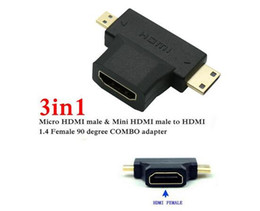 Wholesale Usb Female Hdmi Converter - High Speed 3 in1 Micro HDMI male + Mini HDMI male to HDMI 1.4 Female Cable Adapter Converter for HDTV 1080P HDMI Cables COMBO