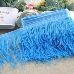 Wholesale Ostrich Feathers Yard - Ostrich Feather Trimming 10m bag 10 Yard Piece DIY Dresses Fabrics Accessories Ostrich Feathers Fringe Trim 10-15cm Boa Stripe Many Colors