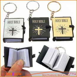 Wholesale Bible Black - Mini Bible Keychain English HOLY BIBLE Religious Christian Jesus Gospel key chain God day school supplies prizes key ring