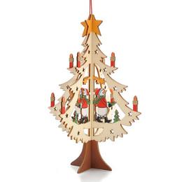 Holz geschnitzte anhänger online-Nette Holz Ornament Geschnitzte Farbe Druck Anhänger Für Zuhause Markt Dekoration Elk Bear Weihnachtsbaum Anhänger 4 9zy B R
