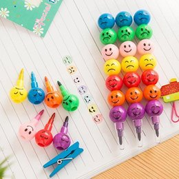 Wholesale Old Crayons - Hot Sale Lovely Creative Cartoon Painting Pens Funny Face Coated Haws Shape 7 Colors Crayon Graffiti Pen Color Pen Wholesale Free Shipping
