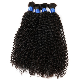 Wholesale Human Hair Extensions Mix Colour - DS hair products mongolian human afro kinky curly bulk hair extension 4pcs lot natural colour human braiding hair