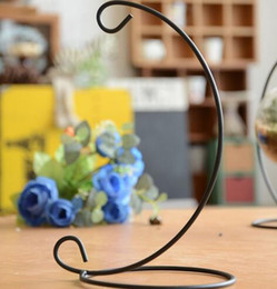 Wholesale Metal Hanging Lights - New Arrive Iron Wedding Candle Holder Moroccan Candlestick Glass Ball Hanging Bracket Stand