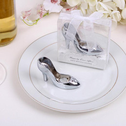 Wholesale Silver Boxes For Wedding Favors - Wholesale- 1pcs Creative Cinderella High Heel Shoe Design Wine Bottle Opener For Home Party Wedding Favors Gift Boxed wedding decoration