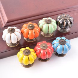Wholesale Wholesale Ceramic Pumpkins - shipping free cheap color pumpkin shape popular zinc and ceramic material cabinet kitchen closet wrodrobe dresser cupboard darwer knob