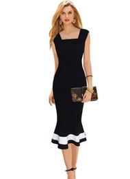 Wholesale Mermaid Mid Length Dress - 2016 New Women's Fashion Party Dresses Black Sleeveless Summer Plus size Sexy Patchwork Sheath Career Mid Mermaid Dress XXL
