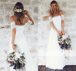 Wholesale Vestidos Novia Short - 2017 Vintage Lace Bohemain Beach Wedding Dresses off the Shoulder Short Sleeves Custom Made Beach Bridal Gowns vestidos de novia