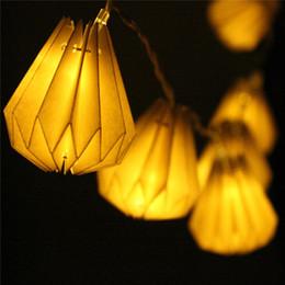 Navidad lámpara batería cálido blanco online-1M Diamond Paper Lantern 10 LED String Light Decoración del banquete de boda de Navidad Fairy Lamp Warm White DC3V con pilas