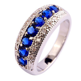 Wholesale Quartz Silver Ring - AAA CZ Lab Wholesale Blue Sapphire Quartz 18K White Gold Plated Silver Fashion Ring Size 6 7 8 9 10 11 12 Free Shipping
